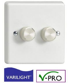 VARILIGHT 2 Gang (Double) Intelligent Trailing-Edge (V-Pro) LED Dimmer Switch